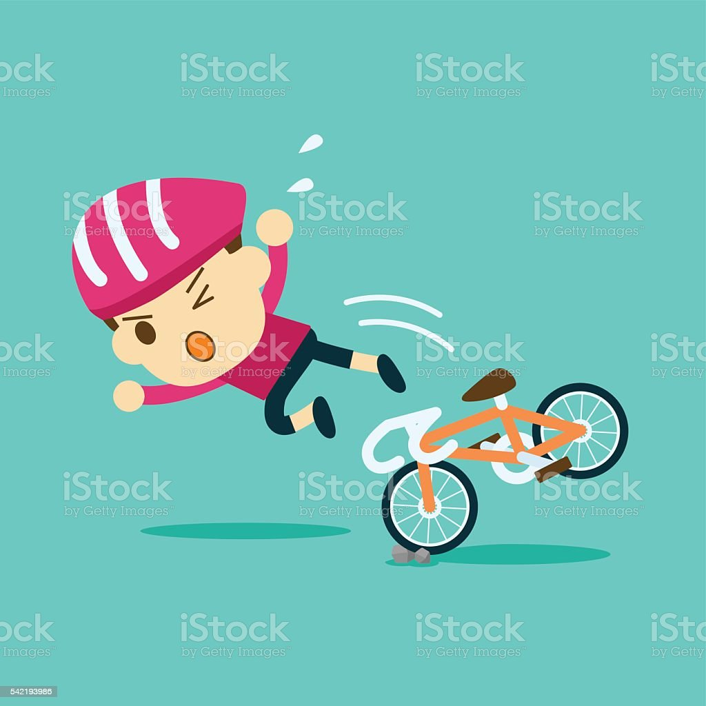 male cyclist ride a bicycle accident vector art illustration