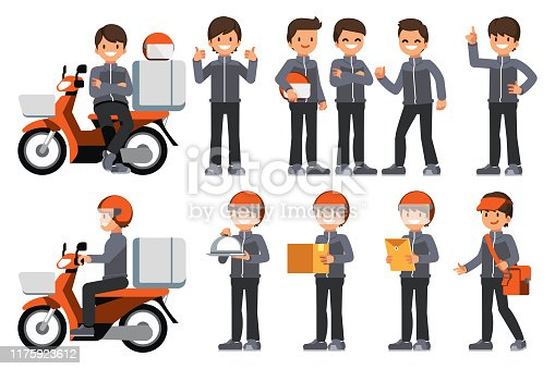 Male delivery staff with motorcycle.