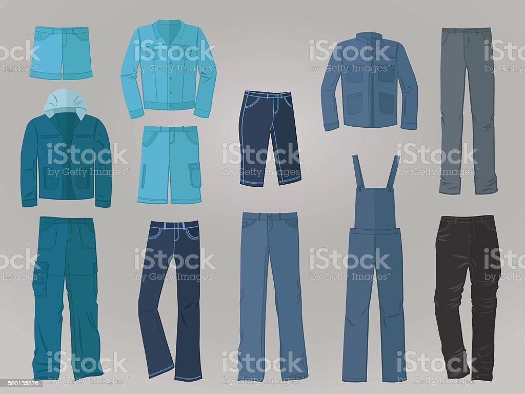 Male denim clothing in flat design vector art illustration