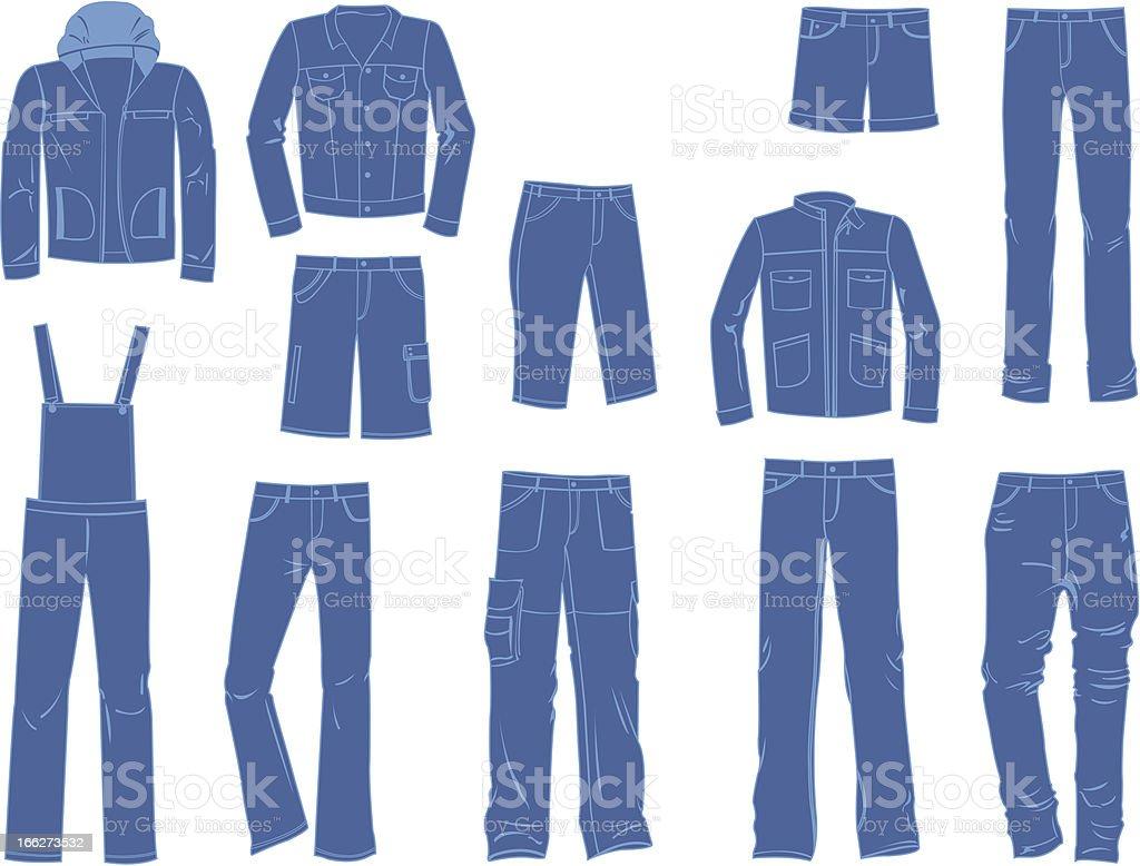 Male denim clothing vector art illustration