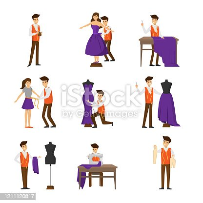 Male designer tailoring, measuring and sewing for female customer. Dressmaker set. Tailor studio shop flat icons collection. Sewing design concept