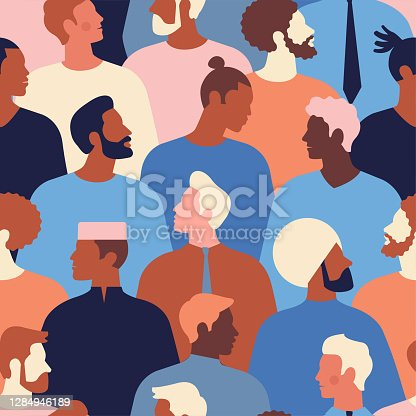 istock Male diverse faces of different ethnicity seamless pattern. Men empowerment movement pattern. Fathers day graphic in vector. 1284946189