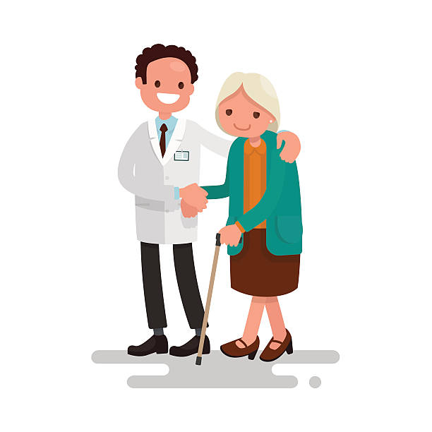 male doctor helping a grandmother with a cane. vector illustrati - old man smile silhouette stock illustrations
