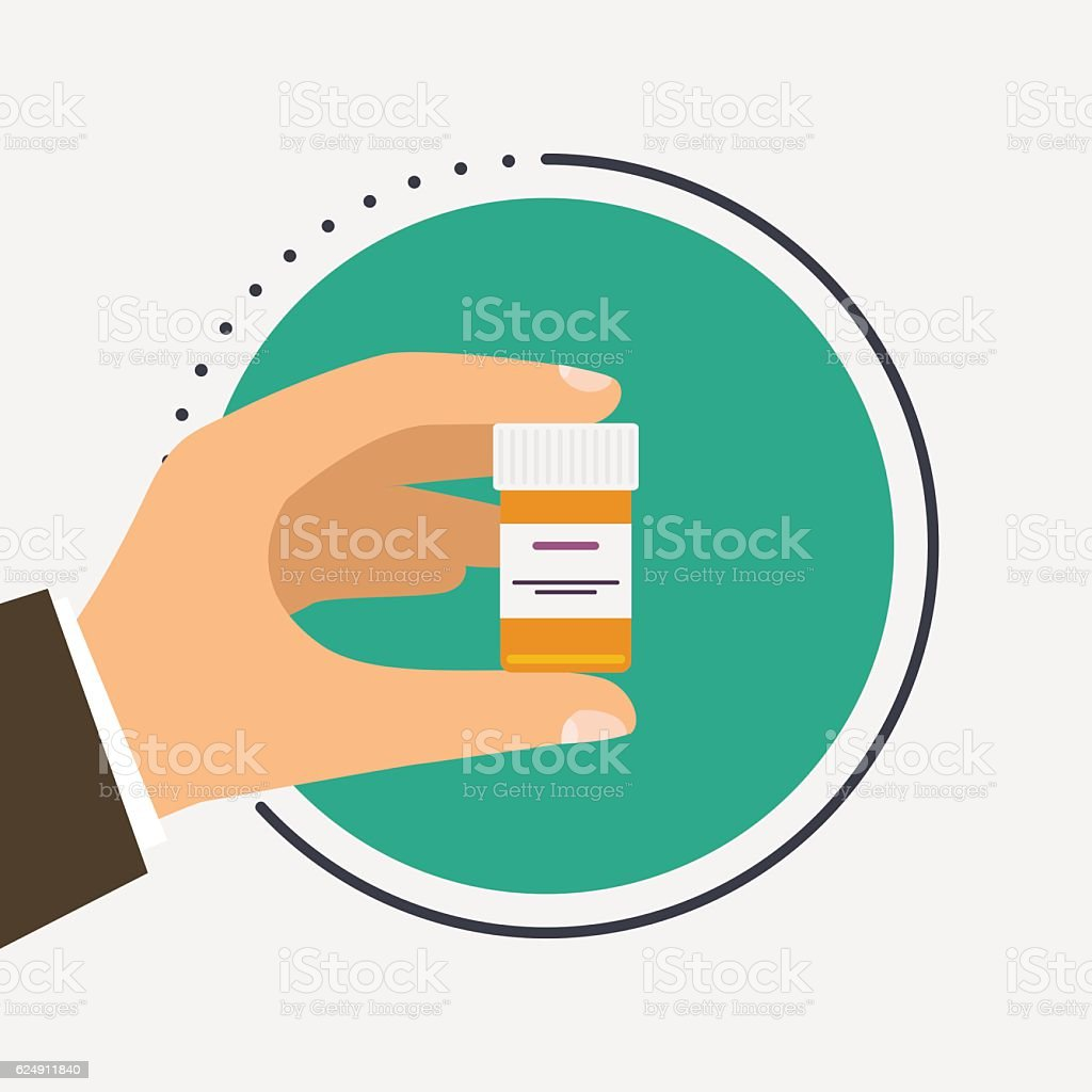 Male doctor holding container with cure in his hands. vector art illustration
