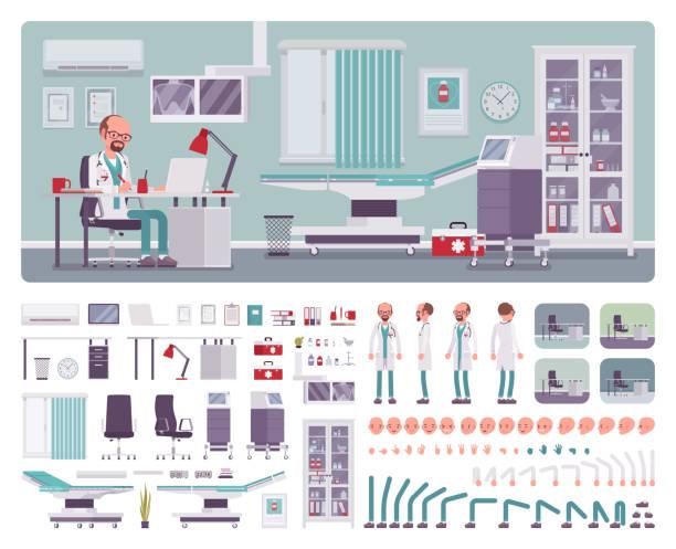 ilustrações, clipart, desenhos animados e ícones de médico clínico geral office kit de criação interior - landscape creation kit