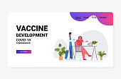 african american male doctor in mask vaccinating businesswoman patient to fight against coronavirus vaccine development concept full length horizontal vector illustration