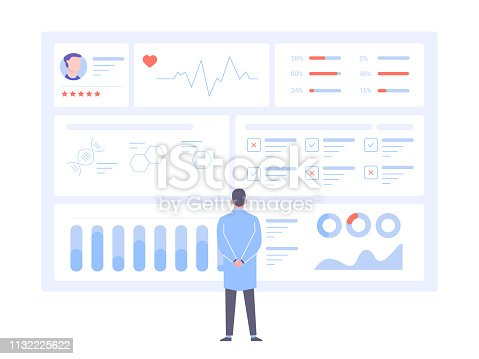A male doctor is standing back to us in front of a big data screen. Diagnosis of diseases, medical tests, effective treatment. Dashboard with patient health information. Vector illustration.