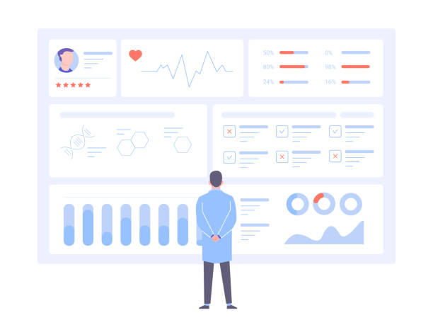 illustrazioni stock, clip art, cartoni animati e icone di tendenza di a male doctor is standing back to us in front of a big data screen. - paziente