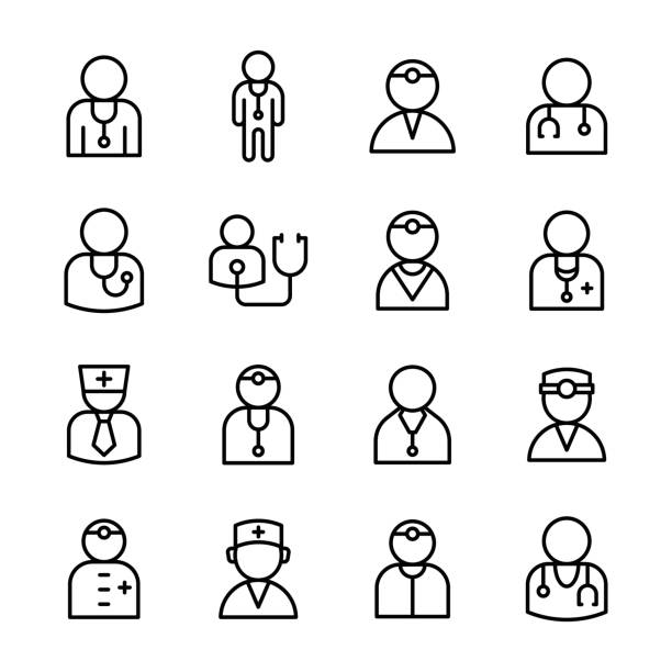 Male Doctor Line Vector Icons Set This is special doctor avatar line vector Collection that consist hospital people icons in different shape. male nurse stock illustrations