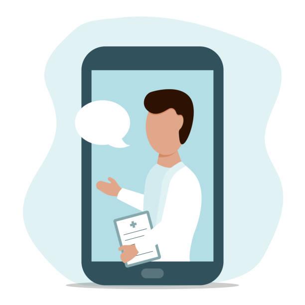 männlicher arzt online von ihrem smartphone vektor-illustration - smartphone mit corona app stock-grafiken, -clipart, -cartoons und -symbole