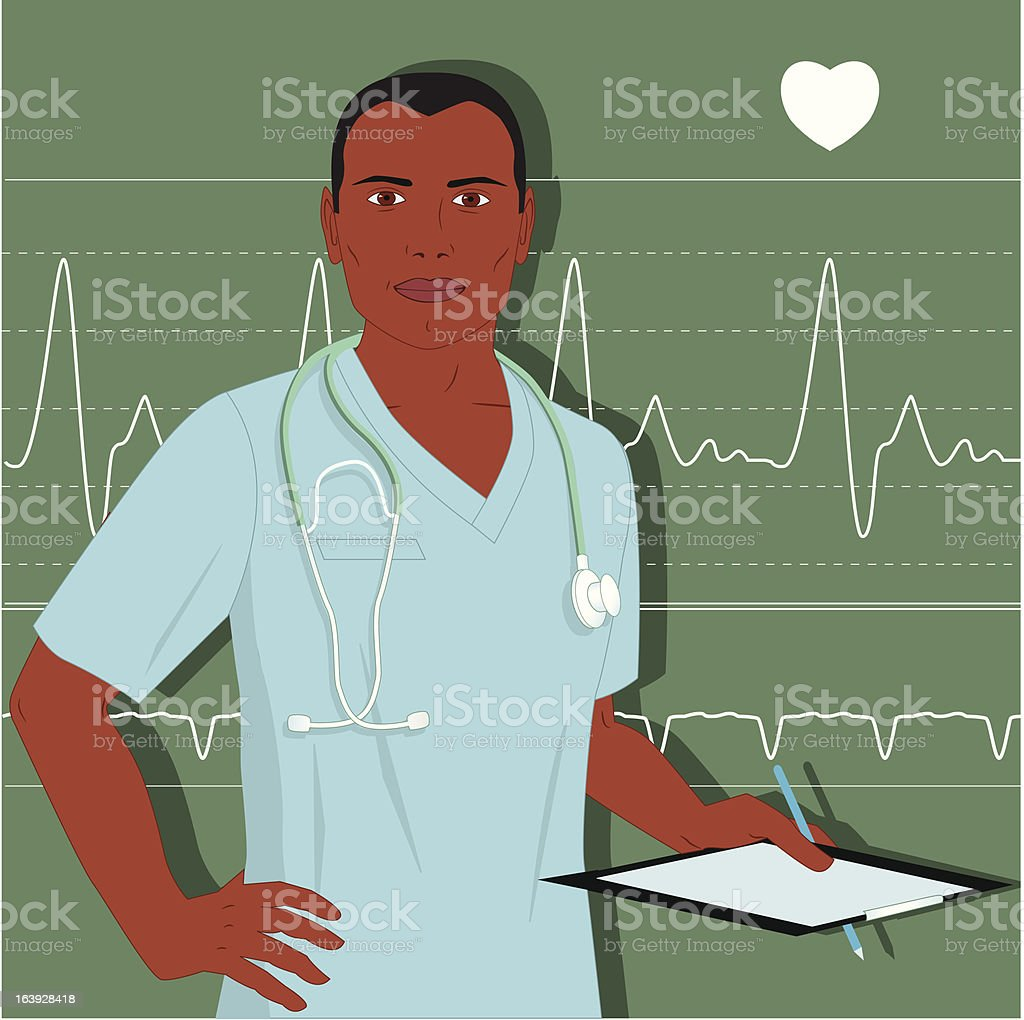 Male doctor or nurse royalty-free stock vector art