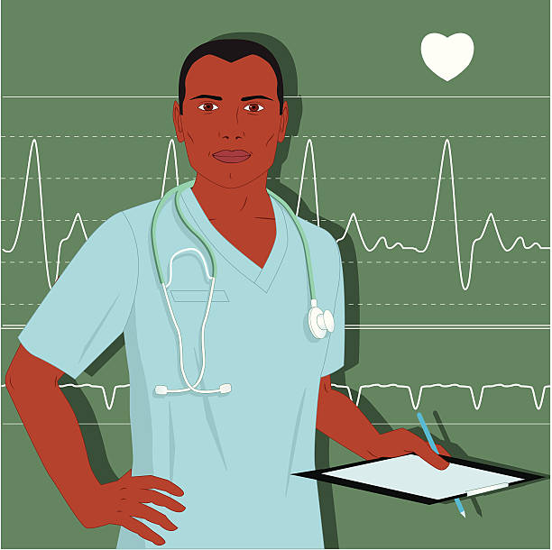 Male doctor or nurse African-American male healthcare professional in hospital scrubs, with a clipsoard and stethoscope. Heart monitor screen on the background. No transparencies male nurse stock illustrations