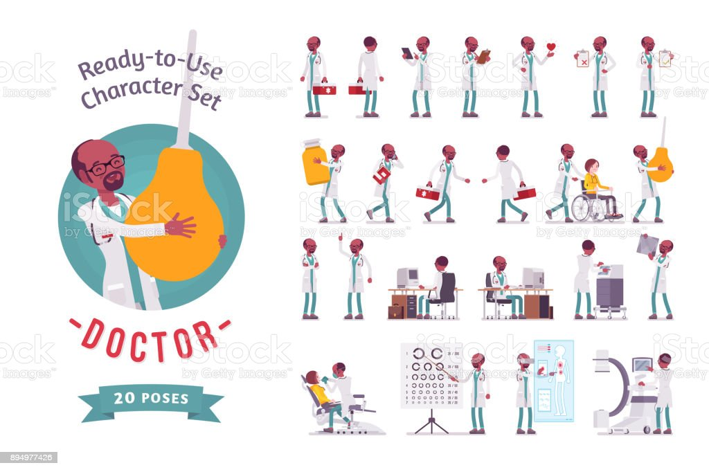 Male Doctor ready-to-use character set vector art illustration