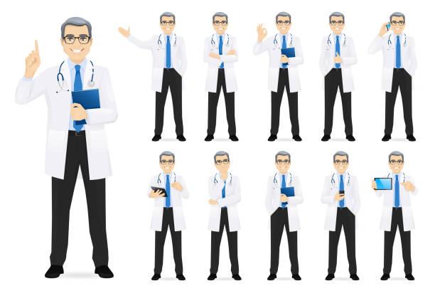 ilustrações de stock, clip art, desenhos animados e ícones de male doctor set - scientist