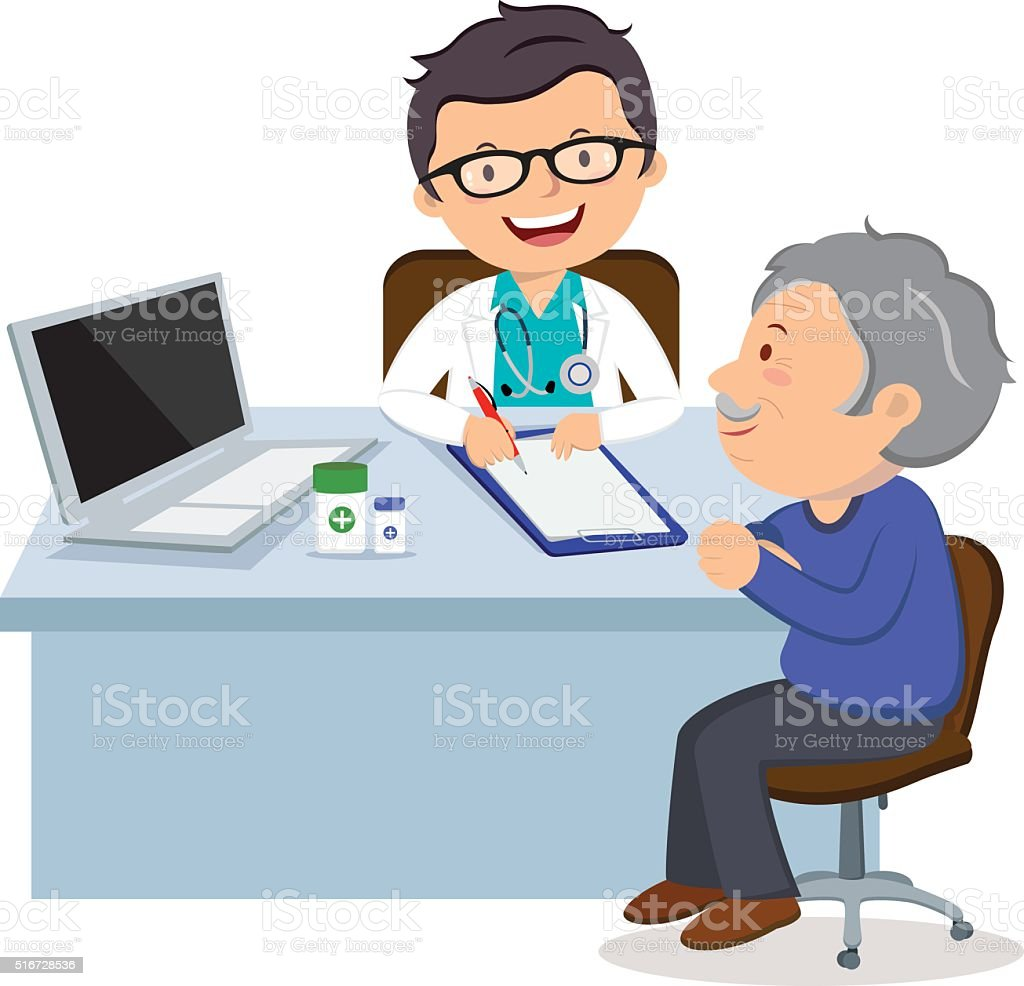 Male doctor with senior woman vector art illustration