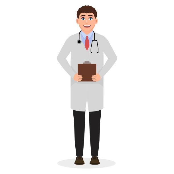 男性医師、彼の首の周りに医療コートと聴診器の若い男、職業、漫画のキャラクターベクトルイラスト - 医師点のイラスト素材/クリップアート素材/マンガ素材/アイコン素材
