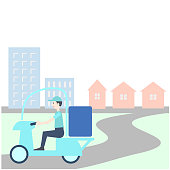 A man delivering by motorcycle. It is a landscape with buildings and houses.