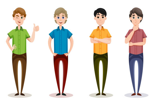 stockillustraties, clipart, cartoons en iconen met mannelijke emoties instellen met verschillende doek kleuren en haren - jonge mannen