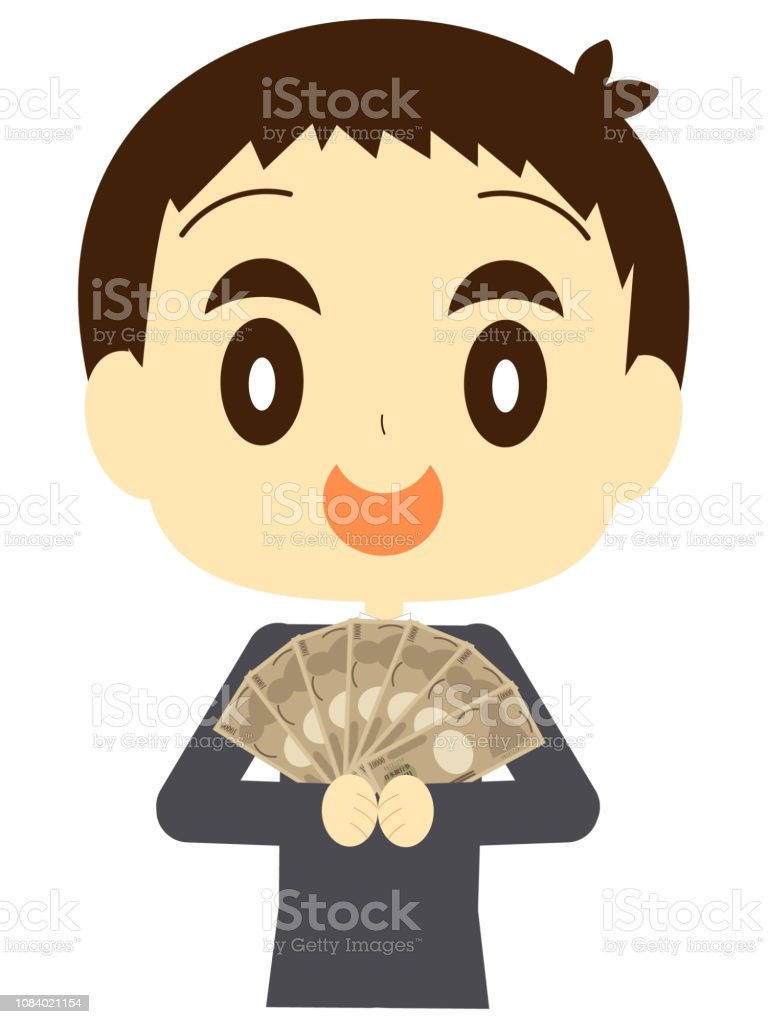 Male employee with big money vector art illustration