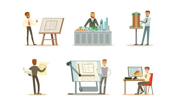 bildbanksillustrationer, clip art samt tecknat material och ikoner med manliga ingenjörer designar en ny byggnad. vektor illustration på vit bakgrund - man architect computer
