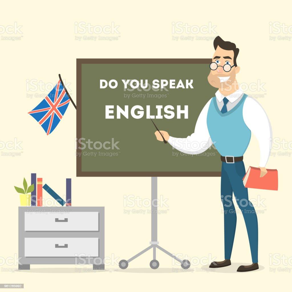 男性英語教師。 ベクターアートイラスト