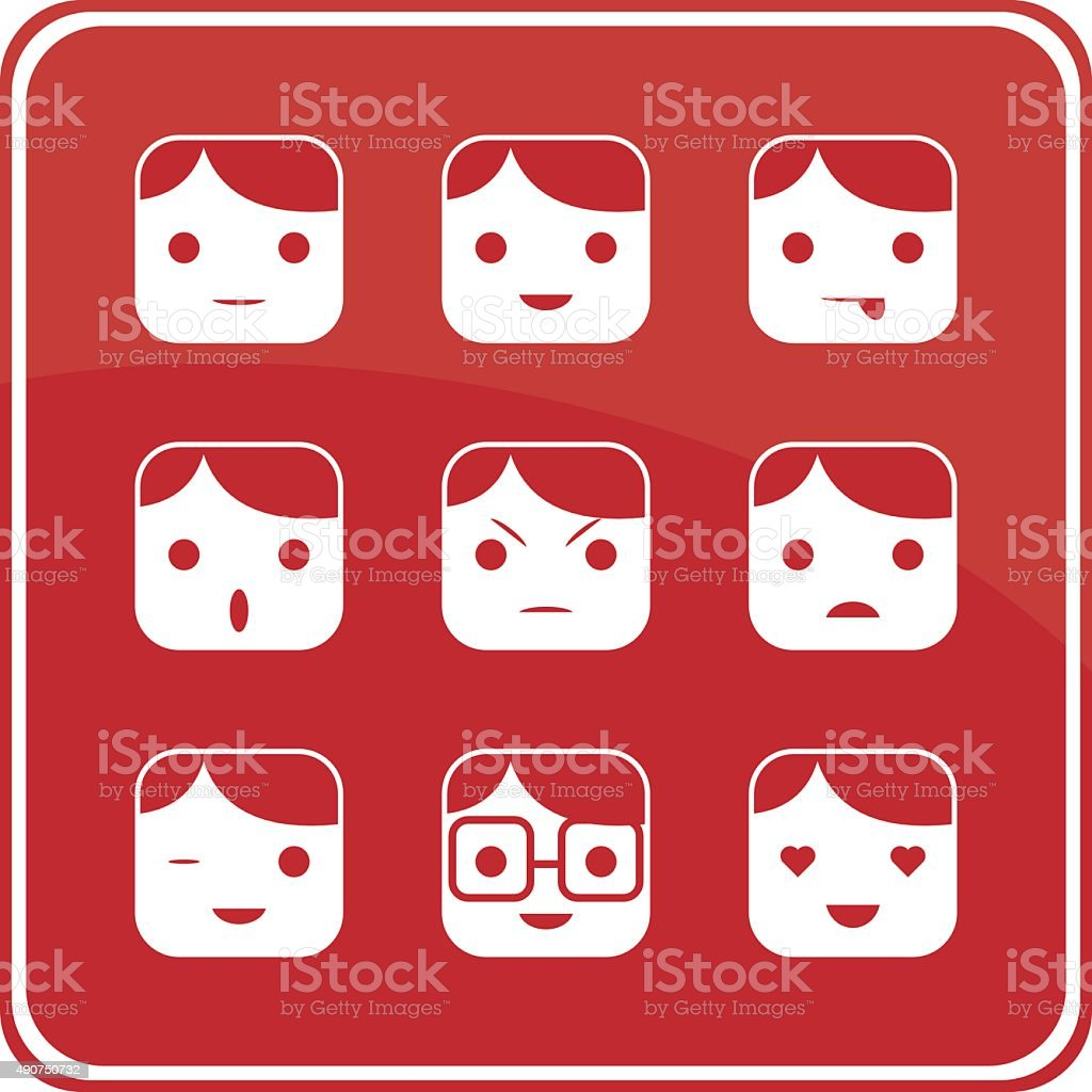 Male Face Expression Icons vector art illustration