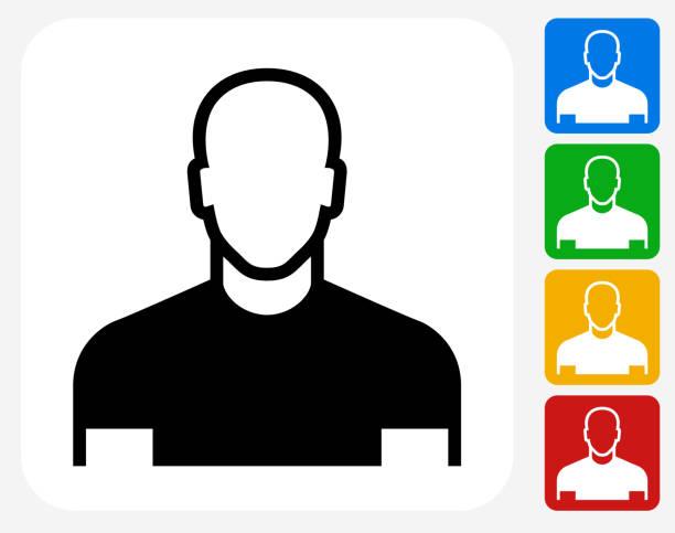 stockillustraties, clipart, cartoons en iconen met male face icon flat graphic design - kaal geschoren hoofd