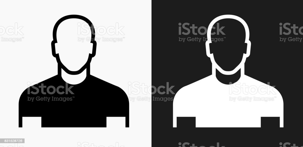 Male Face Icon on Black and White Vector Backgrounds vector art illustration