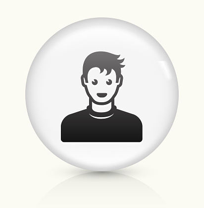 Male Face icon on white round vector button