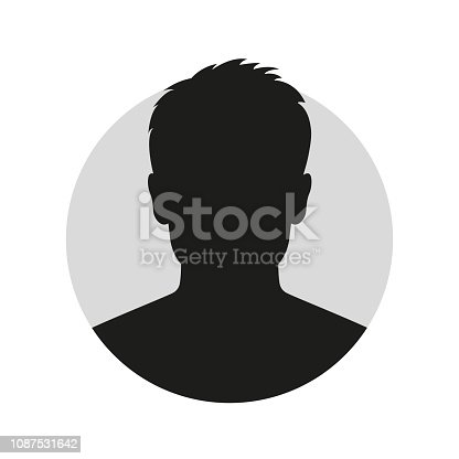 Male face silhouette or icon. Man avatar profile. Unknown or anonymous person. Vector illustration.