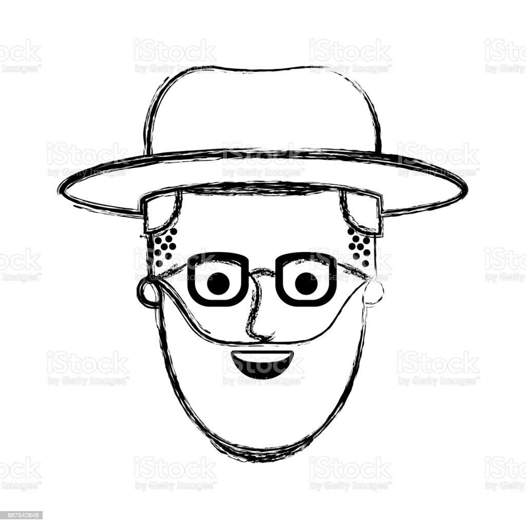 Male Face With Hat And Glasses And Beard And Side Parted Hairstyle