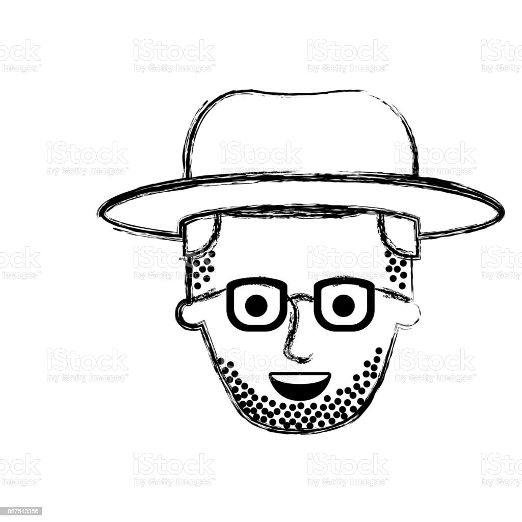 Male Face With Hat And Glasses And Stubble Beard And Side Parted