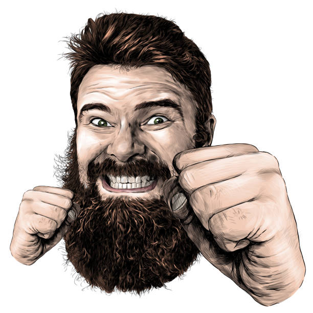 male face with long hair and beard with a tight smile with teeth and fists clenched for a punch in front of the face – artystyczna grafika wektorowa