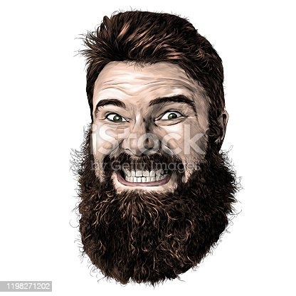 male face with long hair and beard with tight smile with teeth, sketch vector graphic illustration on white background