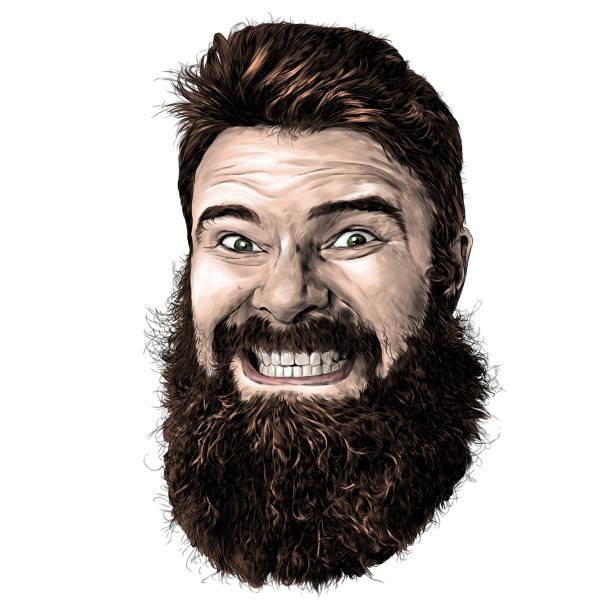 male face with long hair and beard with tight smile with teeth – artystyczna grafika wektorowa
