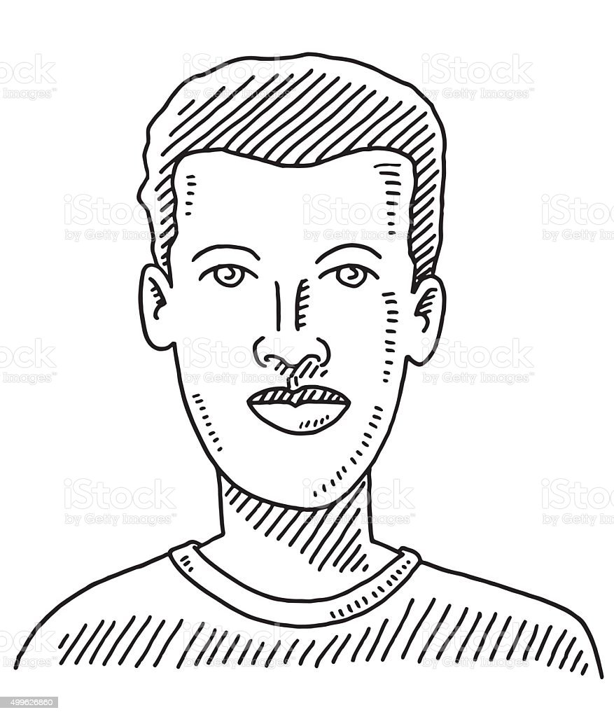 Male Face Young Man Drawing vector art illustration