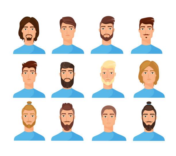 ilustraciones, imágenes clip art, dibujos animados e iconos de stock de conjunto de ilustraciones vectoriales planas de caras masculinas - cabello largo