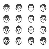16 male faces icons.
