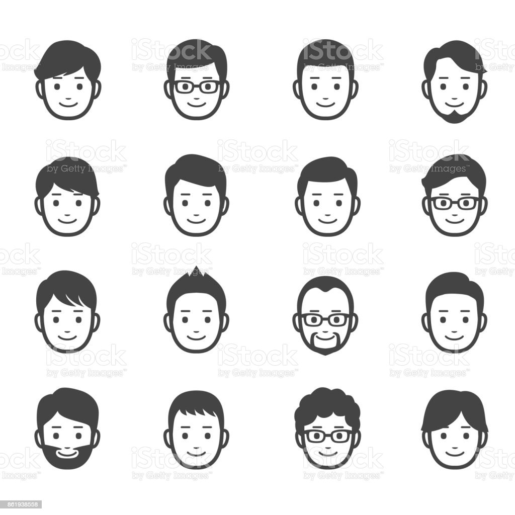 Male faces icons vector art illustration
