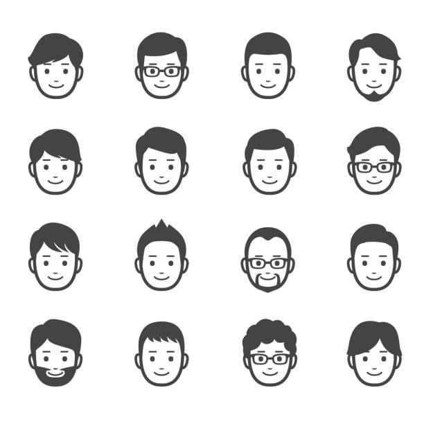 男性の顔アイコン - ビジネスマン 日本人点のイラスト素材/クリップアート素材/マンガ素材/アイコン素材