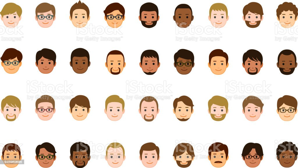 Male faces icons - Royalty-free Abstrato arte vetorial