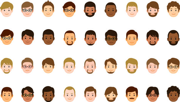 male faces icons - chłopcy stock illustrations