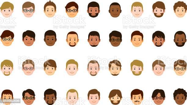 Male Faces Icons - Arte vetorial de stock e mais imagens de Abstrato