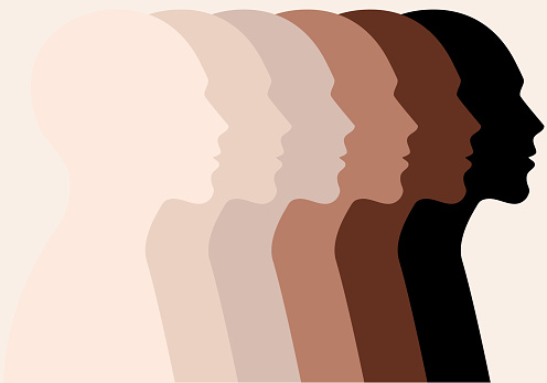 Male faces, profile silhouettes, skin colors, vector
