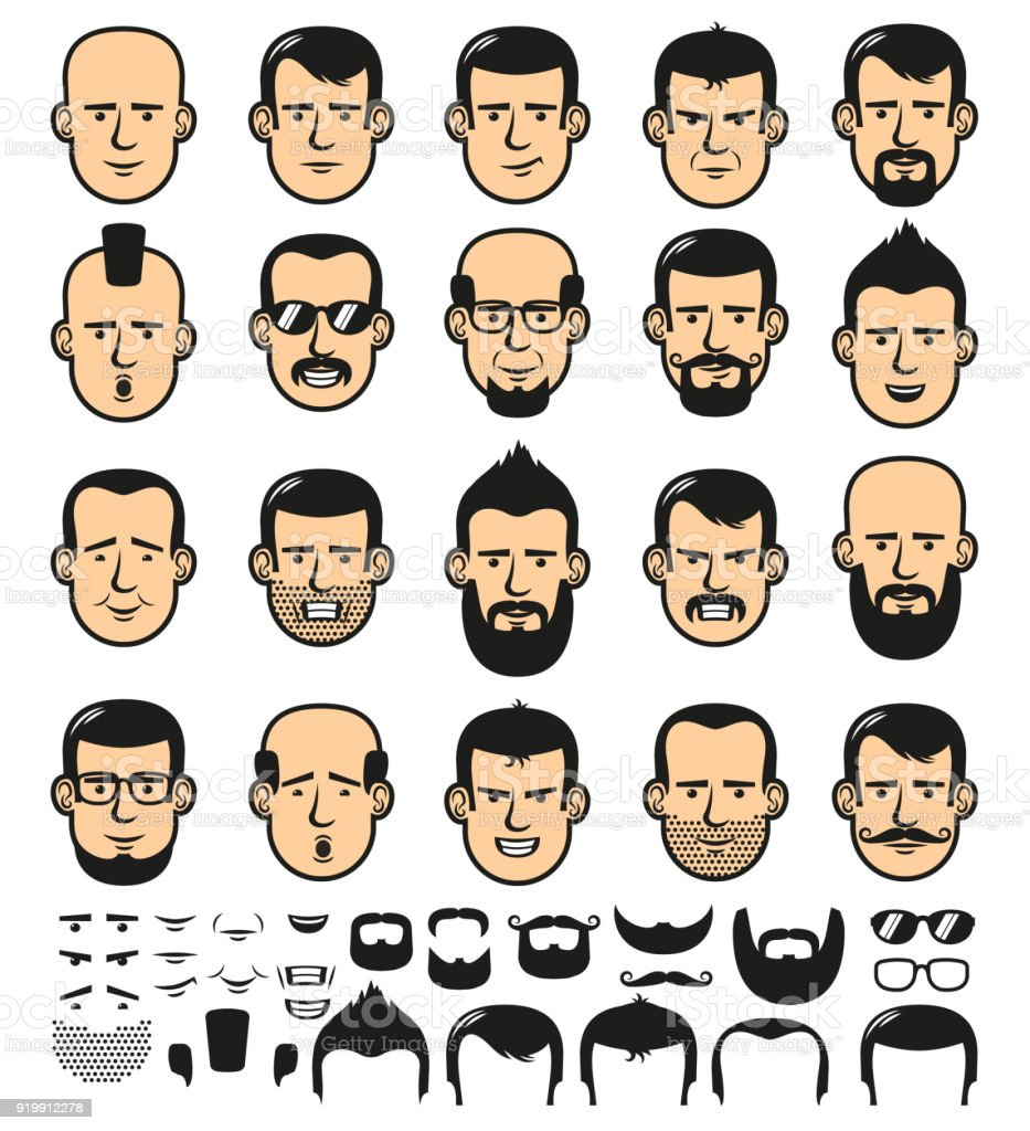 Male faces with haircuts vector art illustration