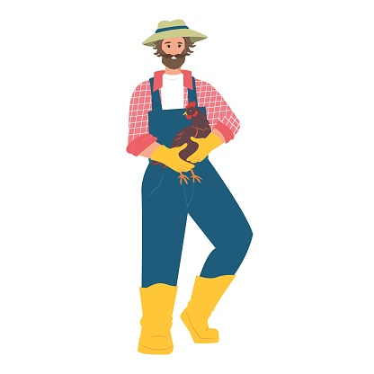 Male farmer with hen in his hands. Agriculture, flat people in the village. Vector illustration.