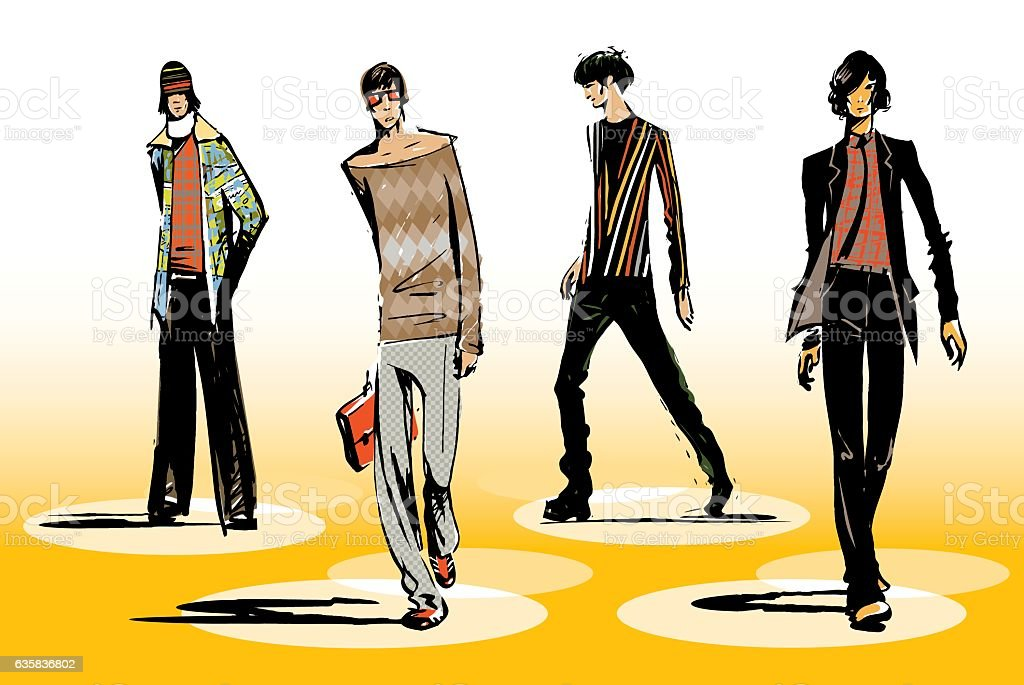 Male fashion group vector art illustration