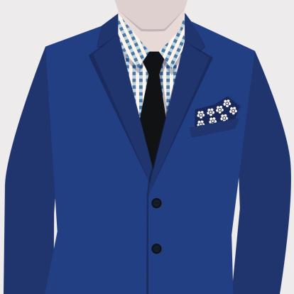 Male fashionable blue suit-flat design