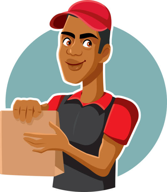 Male Fast Food Worker Holding Delivery Bag Courier from catering service delivering meal in paper package minimum wage stock illustrations
