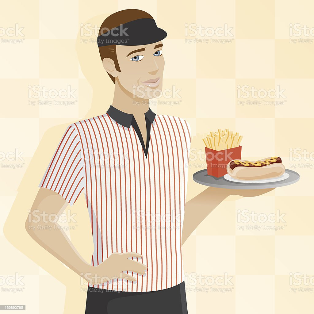 Male Fast Food Worker vector art illustration